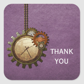 Vintage Clock Thank You Stickers, Purple