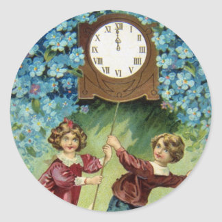 Vintage Clock Turns Midnight Classic Round Sticker