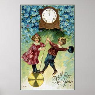 Vintage Clock Turns Midnight Poster