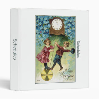 Vintage Clock Turns Midnight Vinyl Binder