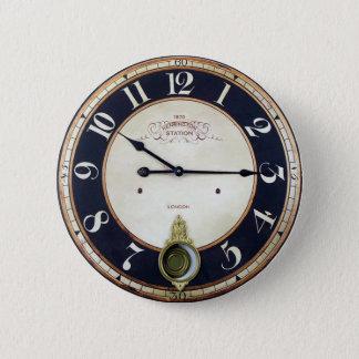 Vintage Clock Watch 2 Inch Round Button