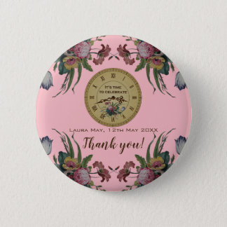 Vintage Clock with Flowers Birthday Party 2 Inch Round Button