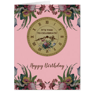Vintage Clock with Flowers Birthday Party Card