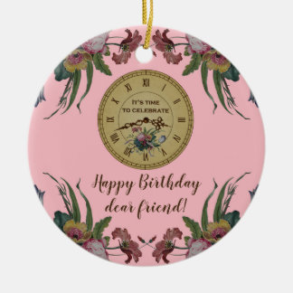 Vintage Clock with Flowers Birthday Party Ceramic Ornament