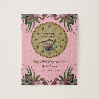 Vintage Clock with Flowers Birthday Party Jigsaw Puzzle