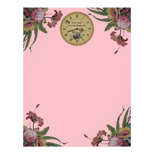Vintage Clock with Flowers Birthday Party Letterhead