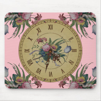 Vintage Clock with Flowers Mouse Pad