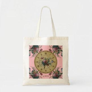 Vintage Clock with Flowers Tote Bag