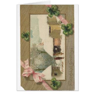 Vintage Clover Friendship Greetings Card