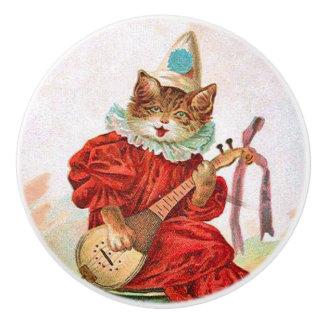 Vintage Clown Jester Musician Cat Mandolin Ceramic Knob