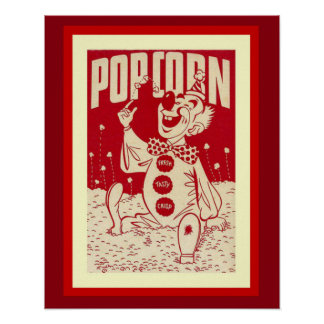 Vintage Clown with Popcorn Poster