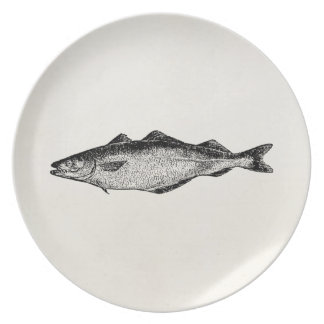 Vintage Coal Fish - Fishes Template Blank Dinner Plates