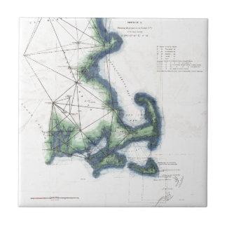 Vintage Coast of New England Cape Cod Map Tile