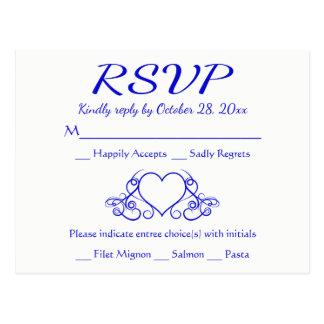 Vintage Cobalt Blue RSVP Heart Wedding Party Postcard