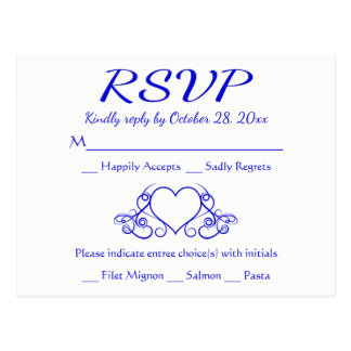Vintage Cobalt Blue RSVP Heart Wedding Party Postcard