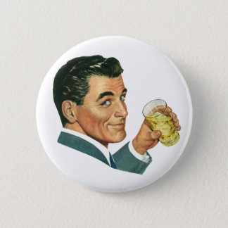 Vintage Cocktails Beverages, Man Drinking Drinks 2 Inch Round Button