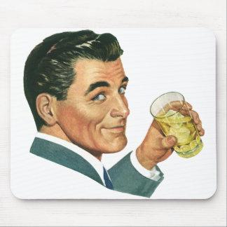 Vintage Cocktails Beverages, Man Drinking Drinks Mouse Pad