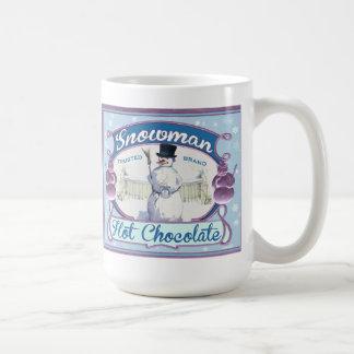 Vintage Cocoa Label Snowman Tea or Coffee Mug