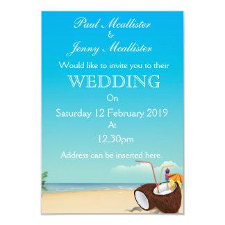 Vintage coconut drink Wedding invite