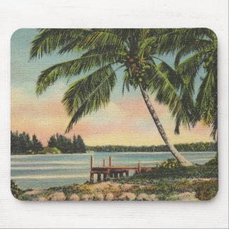 Vintage coconut palms mouse pad
