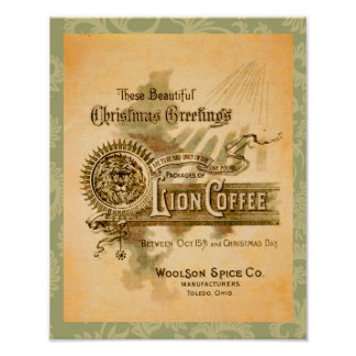 Vintage Coffee Christmas Label Print