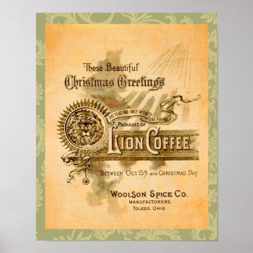 Vintage Coffee Christmas Label Print