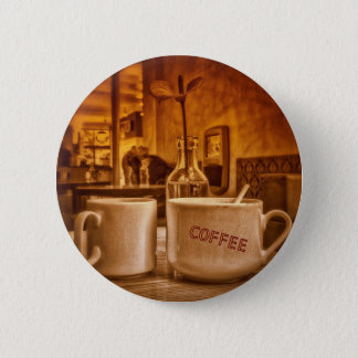 Vintage Coffee Mugs Cafe Sepia Photo Design 2 Inch Round Button