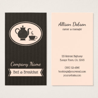 Vintage Coffee Pot and Cup B&B Bed and Breakfast Business Card