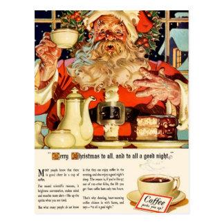 "VINTAGE ""COFFEE WITH SANTA"" CHRISTMAS EVE POSTCARD"