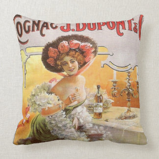 Vintage Cognac Advertisement Throw Pillow