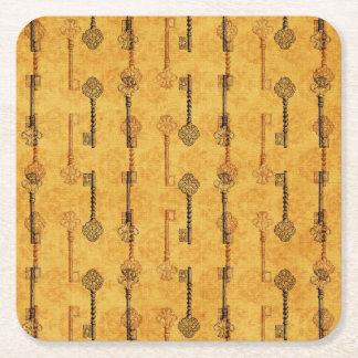 Vintage Collage Antique Keys Sepia Grungy Design Square Paper Coaster