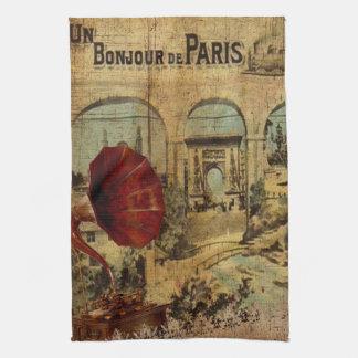 Vintage Collage, Bonjour de Paris Kitchen Towel