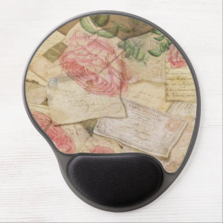 Vintage Collage, French Letters and Post Cards Gel Mouse Pad