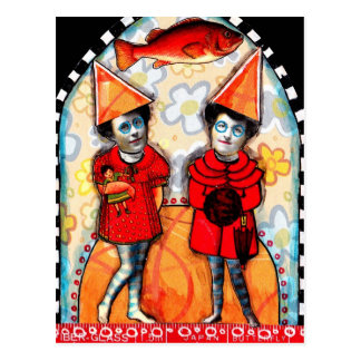 Vintage Collage Twins with Orange Hats Post Card