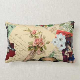Vintage Collage with Roses and Spectacles Lumbar Pillow