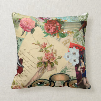 Vintage Collage with Roses and Spectacles Throw Pillow