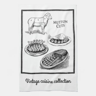 Vintage collection, mutton numbered cuts kitchen towels