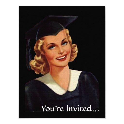 Vintage College Co-Ed Graduation Woman Custom Invites