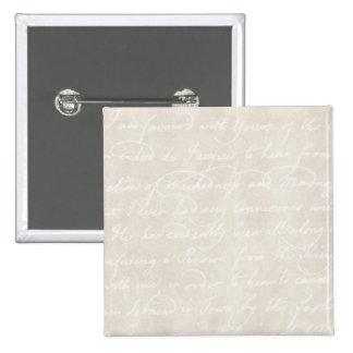 Vintage Colonial Cream Beige Text Parchment Paper 2 Inch Square Button