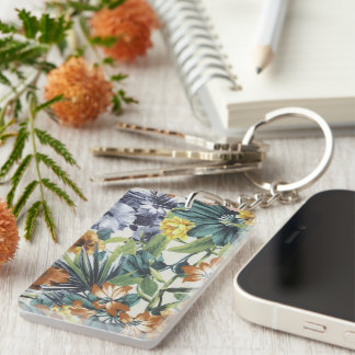 Vintage Color  Floral Keychain