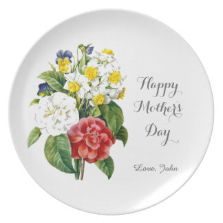vintage color flowers happy mother's day plate