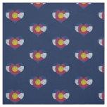 Vintage Colorado Flag Hearts Fabric