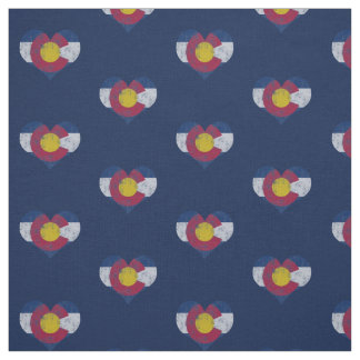 Vintage Colorado Flag Hearts Fabric