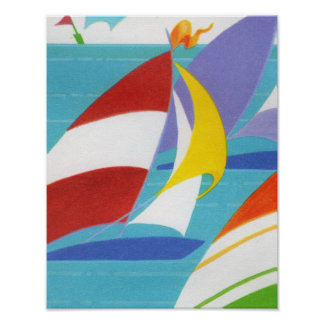 Vintage Colorful Abstract Sailboats in Water Poster