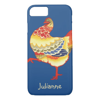 Vintage Colorful Barnyard Chicken from Farm iPhone 8/7 Case