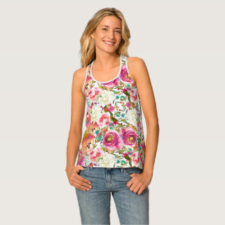 Vintage Colorful Floral Botanical Rustic Country Tank Top