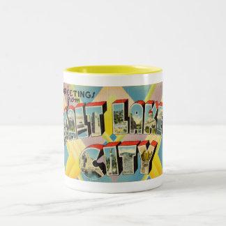 Vintage Colorful Greetings From Salt Lake City Two-Tone Coffee Mug
