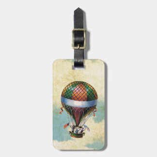 Vintage Colorful Hot Air Balloon Luggage Tag