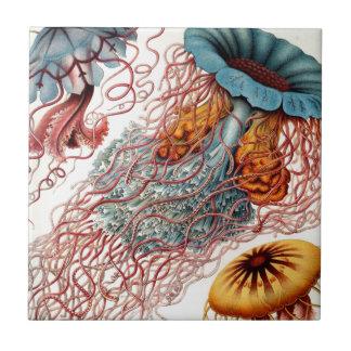Vintage Colorful Jellyfish Tile