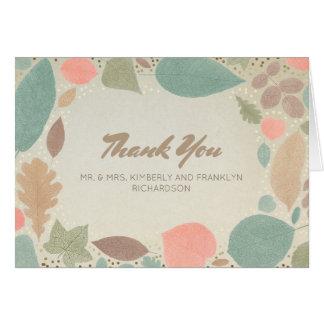 Vintage Colorful Leaf Gold Fall Wedding Thank You Card